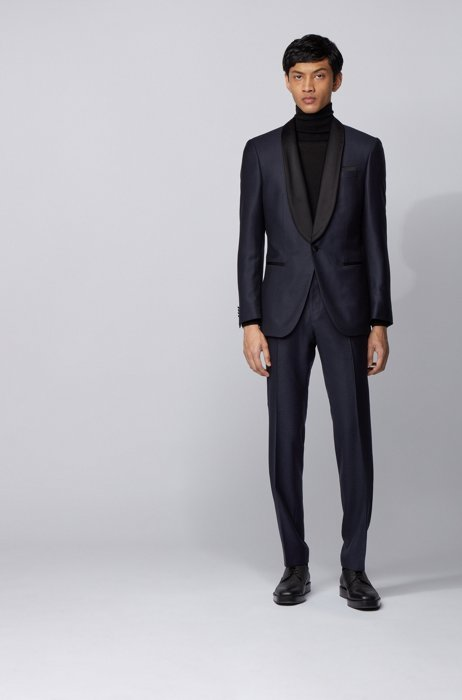 Slim-fit tuxedo in a checked wool-silk blend, Dark Blue