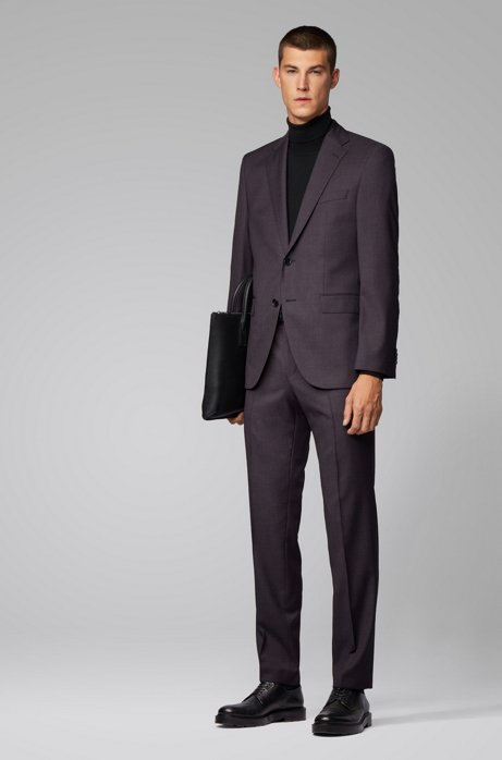 Regular-fit suit in micro-patterned wool, Dark Brown