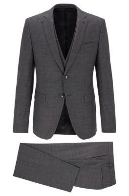 Extra-slim-fit three-piece suit in virgin wool, Open Grey