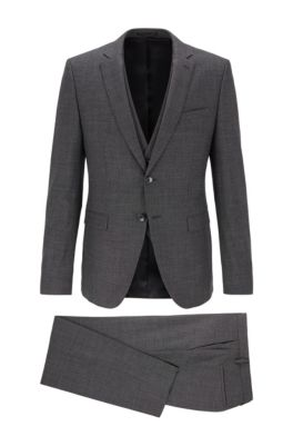 Extra-slim-fit three-piece suit in virgin wool, Open Grey