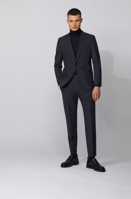 Slim-fit suit in checked stretch fabric, Dark Blue