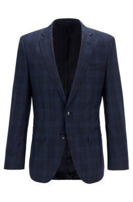 Slim-fit jacket in checked virgin wool serge, Dark Blue