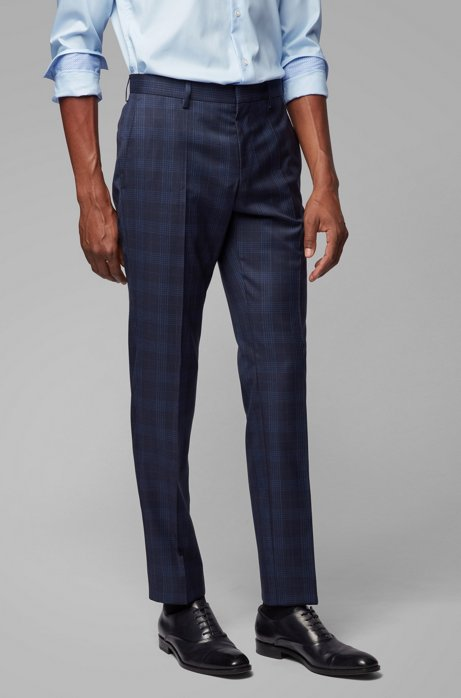 Slim-fit pants in checkered virgin wool, Dark Blue