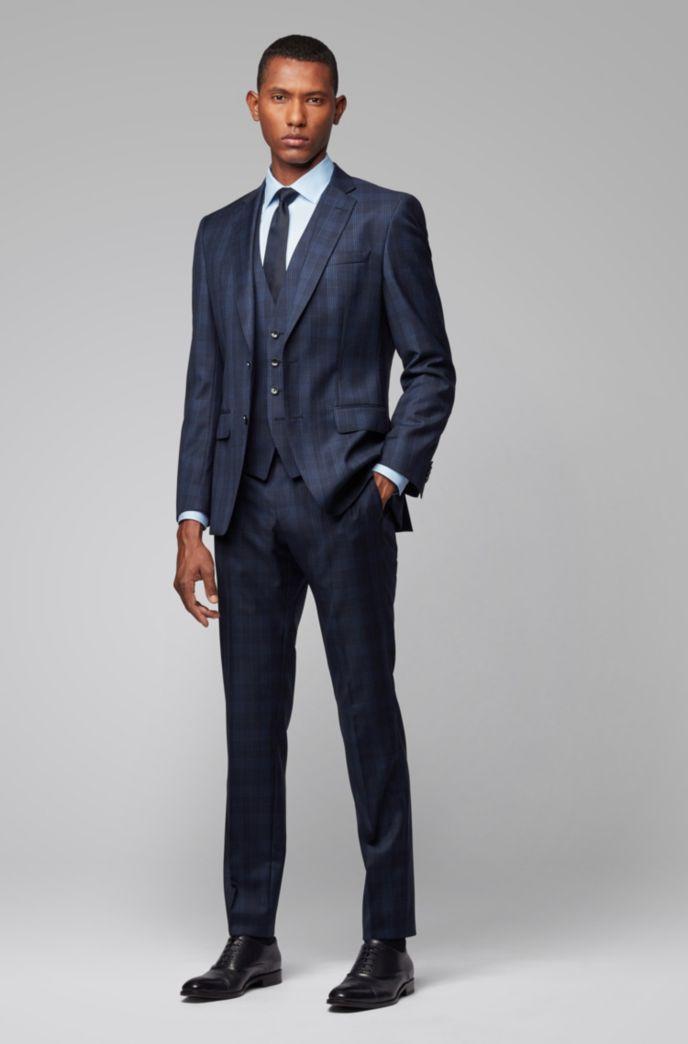 Slim-fit waistcoat in checked virgin wool serge