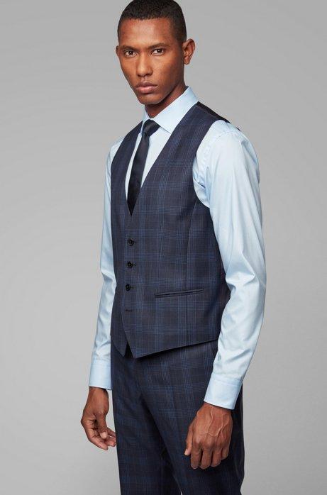 Slim-fit waistcoat in checked virgin wool serge, Dark Blue