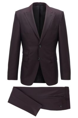 Extra-slim-fit suit in patterned virgin wool, Dark Red