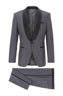 Slim-fit tuxedo in virgin wool with silk trims, Open Grey