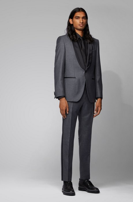 Slim-fit tuxedo in virgin wool with silk trims, Open Grey