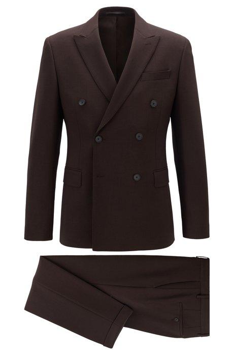 Slim-fit double-breasted suit in stretch virgin wool, Dark Brown