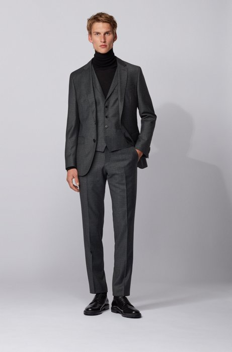 Slim-fit three-piece suit in micro-patterned wool, Turquoise