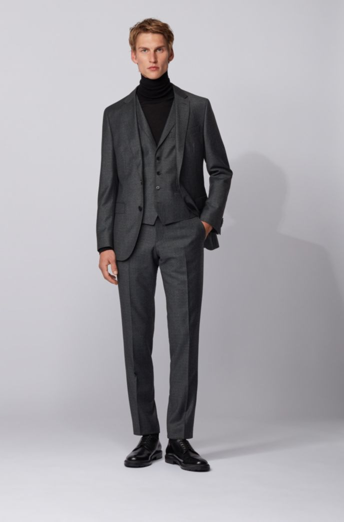 Slim-fit three-piece suit in micro-patterned wool