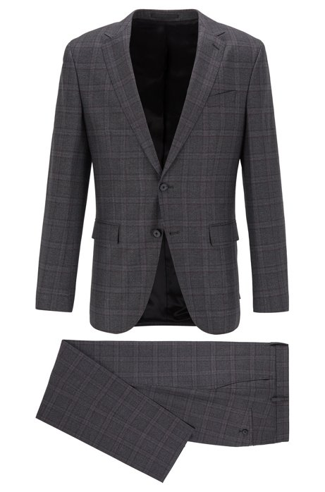 Slim-fit suit in checkered virgin wool, Open Grey