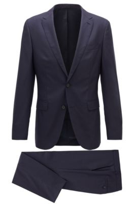 Slim-fit suit in virgin wool with soft construction, Dark Purple