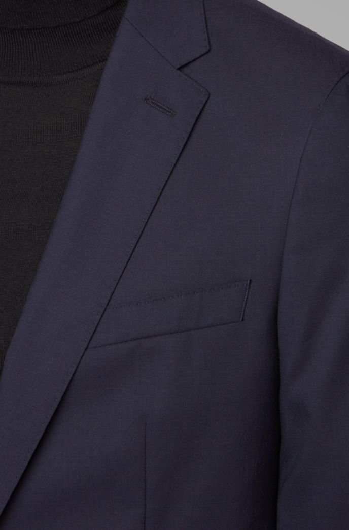 Slim-fit suit in virgin wool with soft construction