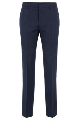 Slim-fit pants in patterned virgin-wool serge, Dark Blue