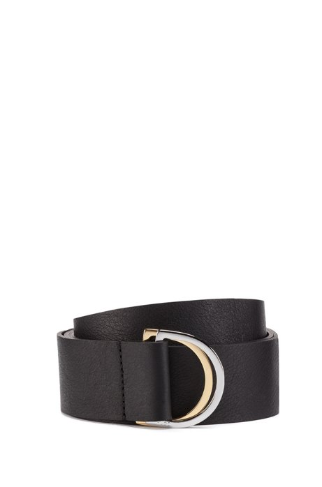 Italian-leather belt with two-tone metallic D-ring, Black