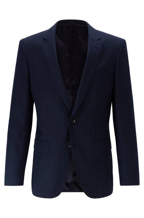 Slim-fit jacket in patterned virgin wool serge, Dark Blue