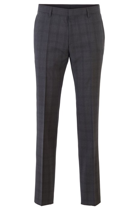 Slim-fit pants in checkered virgin wool, Open Grey