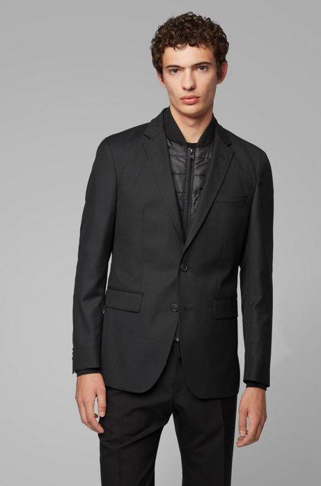 Slim-fit jacket in virgin wool with detachable vest, Black