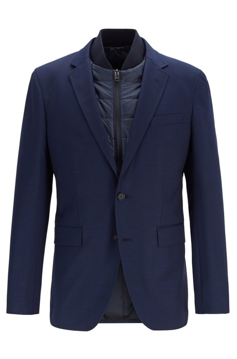 Slim-fit jacket in virgin wool with detachable vest, Dark Blue