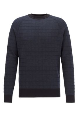 Regular-fit sweater in cotton and silk, Dark Blue