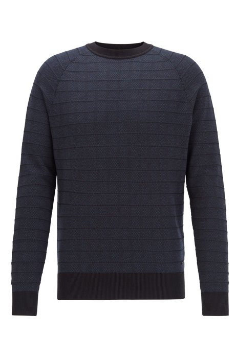 Regular-fit sweater in cotton and silk, Dark Blue