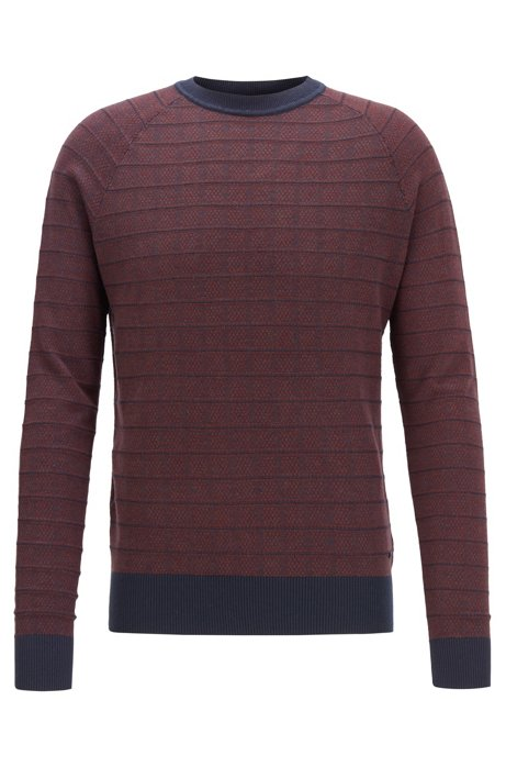 Regular-fit sweater in cotton and silk, Dark Red