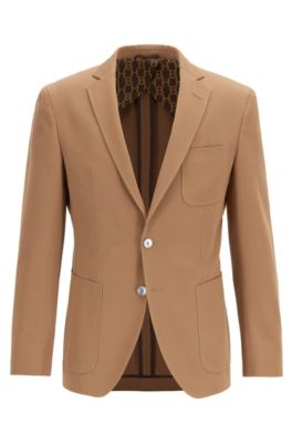 Extra-slim-fit jacket with patch pockets, Beige