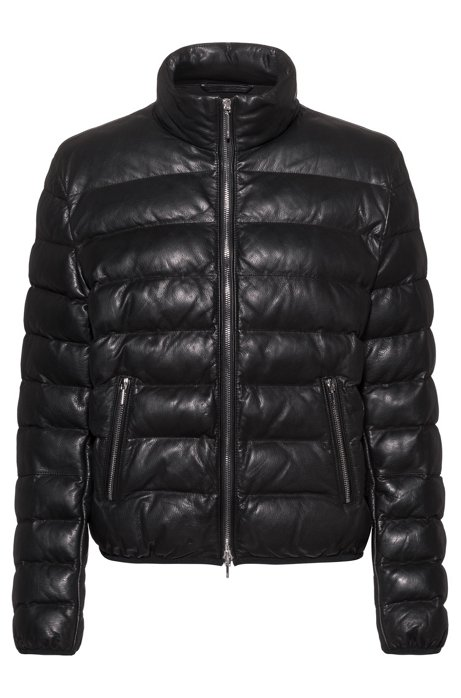 Regular-fit puffer jacket in leather with stand collar, Black