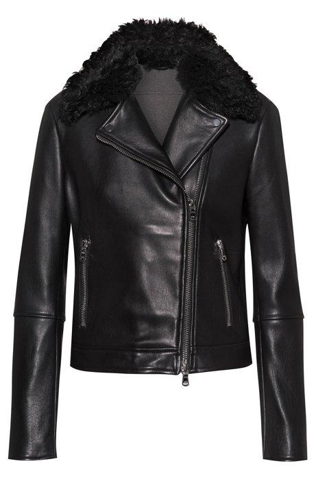 Regular-fit biker jacket in lamb leather , Black