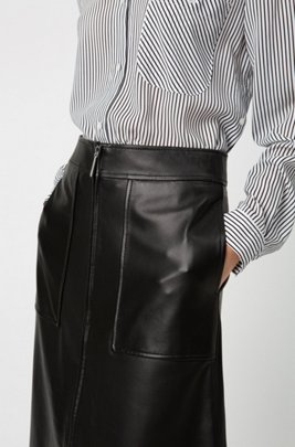 Regular-fit A-line skirt in lamb leather , Black