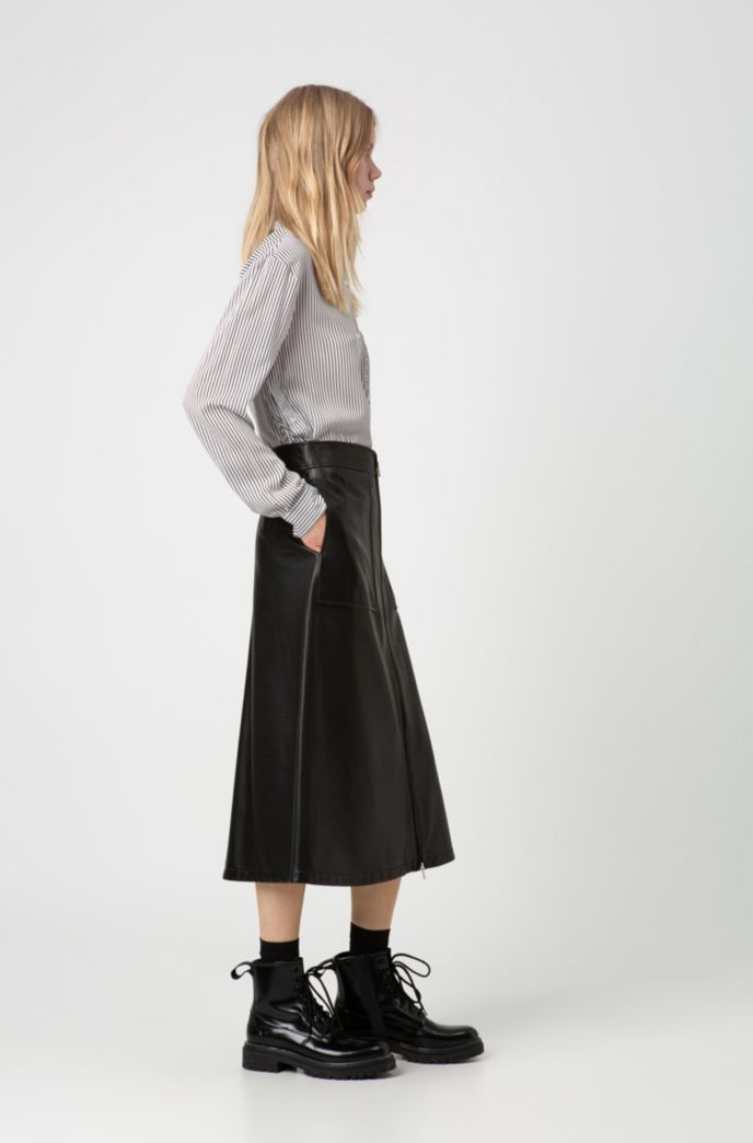 Regular-fit A-line skirt in lamb leather