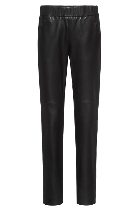Regular-fit pants in lamb leather with side zipper, Black