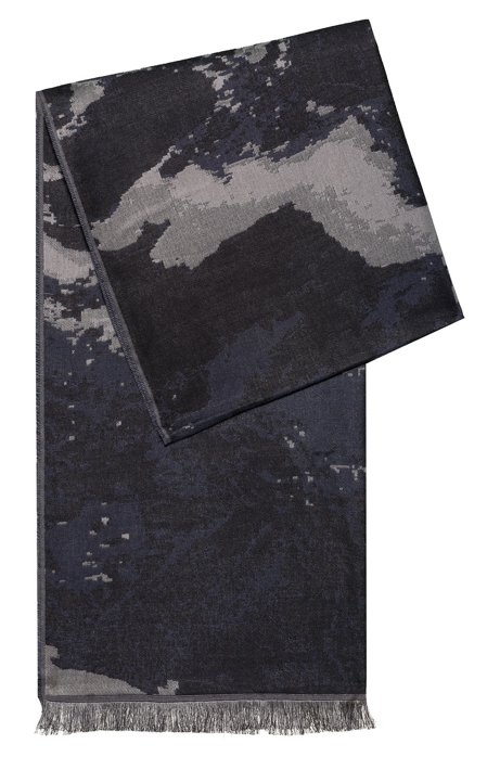 Jacquard-woven scarf in wool with modal, Black