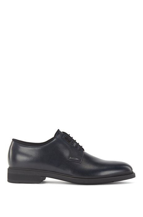 Italian-made leather Derby shoes with Outlast® lining, Dark Blue