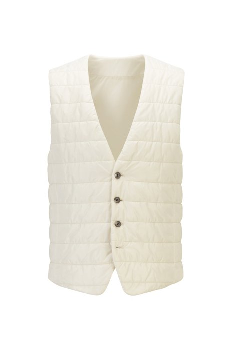 Slim-fit bodywarmer in quilted fabric with buttoned front, Natural
