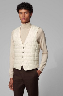 Slim-fit bodywarmer in quilted fabric with buttoned front, White
