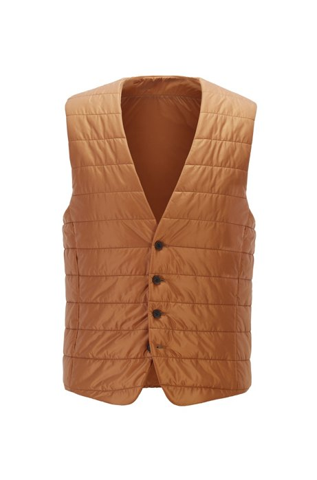 Slim-fit bodywarmer in quilted fabric with buttoned front, Beige