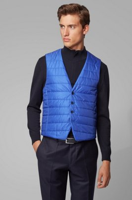 Slim-fit bodywarmer in quilted fabric with buttoned front, Dark Blue