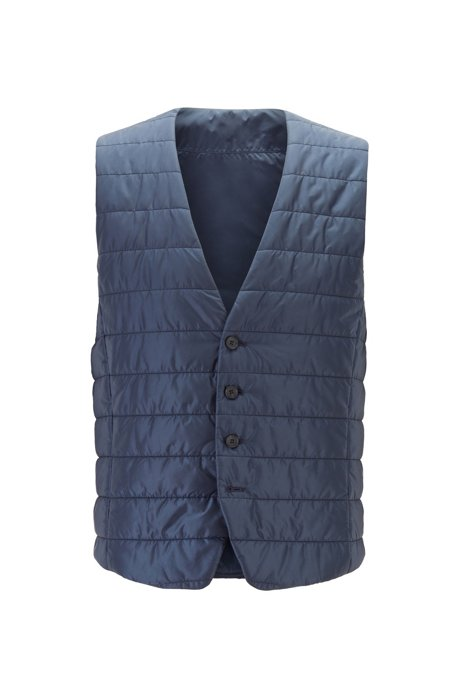 Slim-fit bodywarmer in quilted fabric with buttoned front, Open Blue