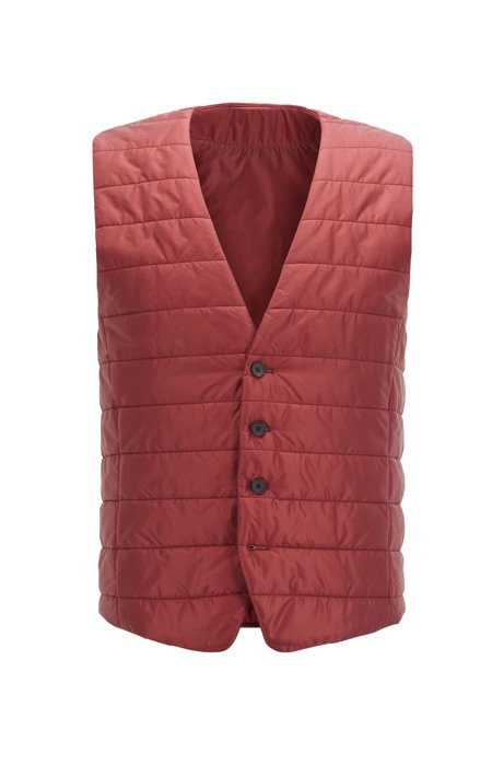 Slim-fit bodywarmer in quilted fabric with buttoned front, Dark Red