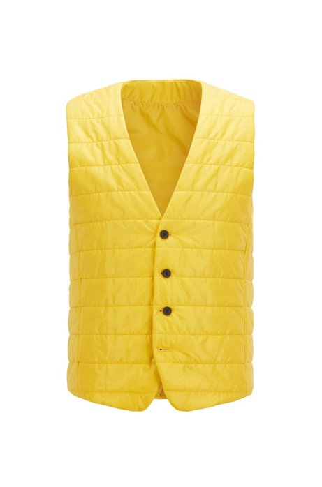 Slim-fit bodywarmer in quilted fabric with buttoned front, Gold