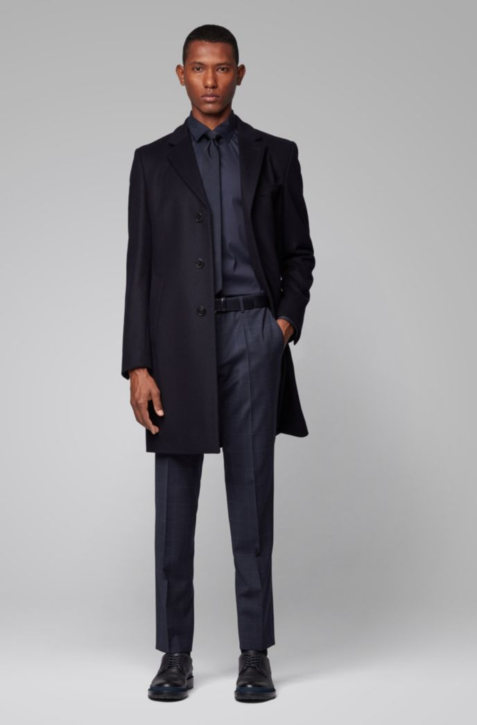 Slim-fit pants in plain-check wool with stretch
