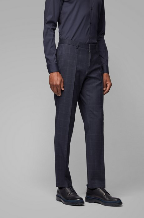 Slim-fit pants in plain-check wool with stretch, Dark Blue