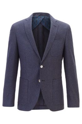 Extra-slim-fit jacket in micro-patterned fabric, Dark Blue