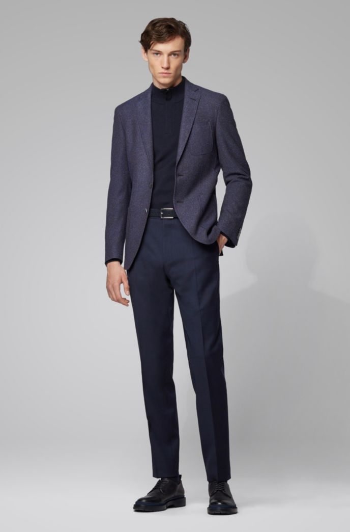 Extra-slim-fit jacket in micro-patterned fabric