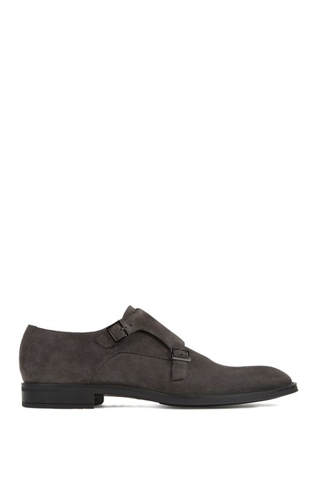 Italian-made monk shoes in suede leather, Dark Grey