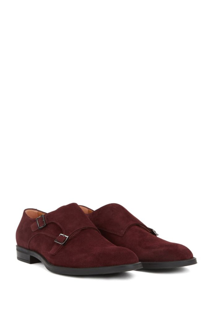 Italian-made monk shoes in suede leather
