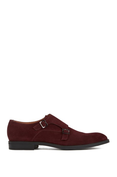 Italian-made monk shoes in suede leather, Dark Red
