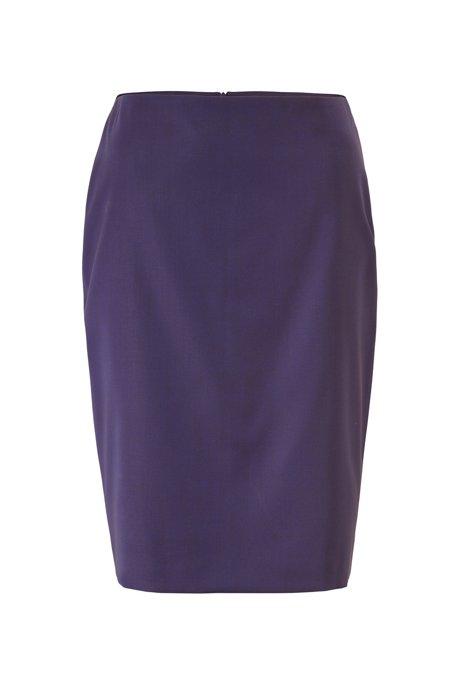 Regular-fit skirt in sharkskin virgin wool, Dark Purple